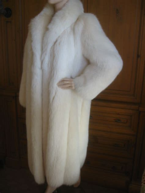 Revillon Luxurious Artic White Fox Fur Coat sz L at 1stdibs
