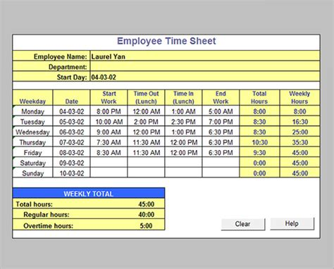 weekly timesheet template excel 17 timesheet calculator templates to for free sle templates