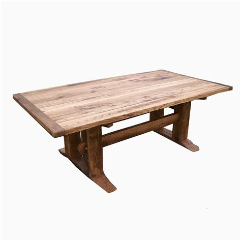 Buy a Hand Crafted Antique Oak Mission Style Trestle Table, made to order from The Strong Oaks