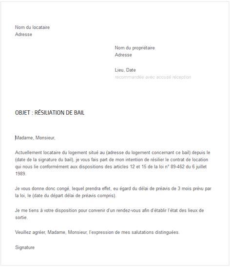 Lettre De Resiliation Bail Meuble Courrier R 233 Siliation De Bail Exemple De R 233 Siliation De
