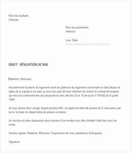 courrier resiliation de bail exemple de resiliation de With lettre de preavis appartement meuble