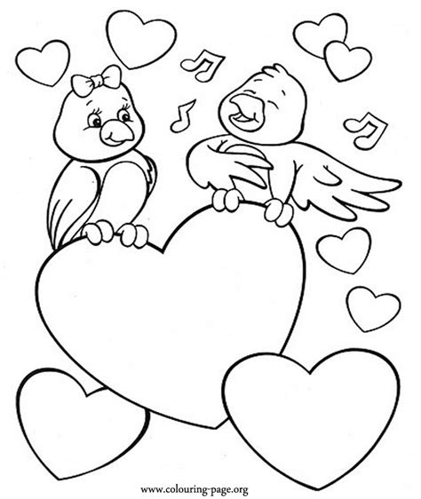Coloring Valentines by S Day A Bird Singing To His Beloved Coloring Page
