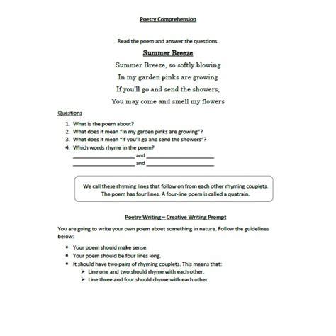 poetry comprehension for grade 5 free printables worksheet