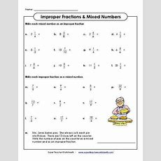 Mixed Numbers And Improper Fractions Worksheet Homeschooldressagecom