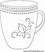 Coloring Coffee Cup Mug Pages Adult Adults Printable Tea Colouring Pattern Wine China Colorpagesformom Books Illustrations Clipart Digis Illustration Coffe sketch template
