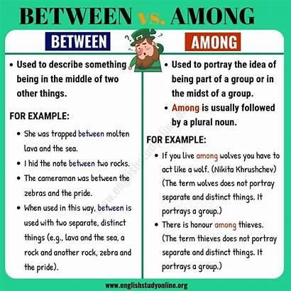 Among Between Difference Infographic Englishstudyonline English