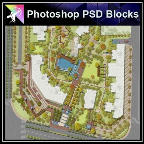photoshop psd landscape layout residential plan design