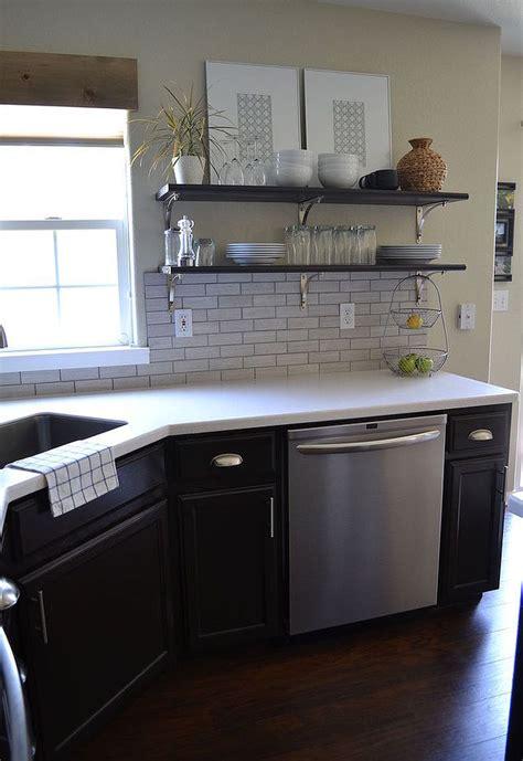 dark cabinets light countertops backsplash kitchen reveal dark cabinets light counters hometalk