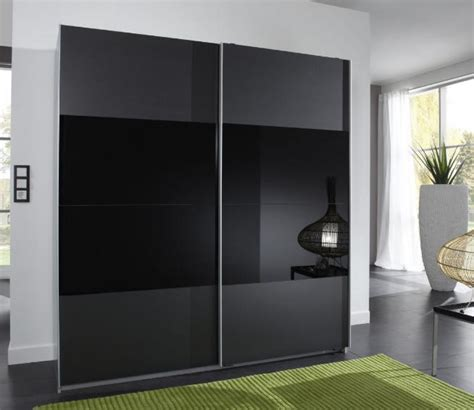 munich 2 door sliding wardrobe charcoal black and black glass amos mann furniture