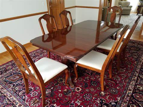 There are flexible table options, including pullout leaves, that are meant to accommodate a different number of guests within a room. Very nice solid wood dining set cherry finish - table and ...