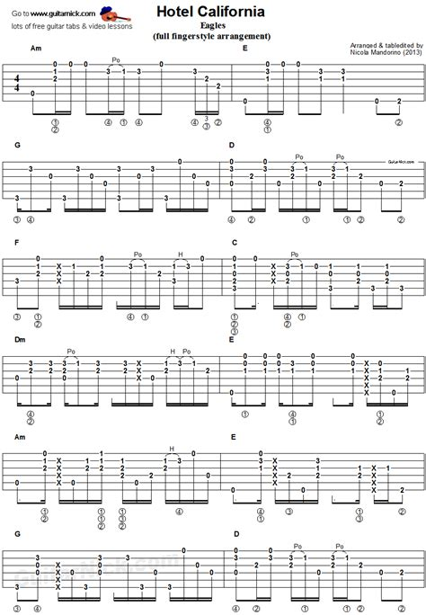 Hotel California  Fingerstyle Guitar Tab 1  Songs  Pinterest  Fingerstyle Guitar, Guitar