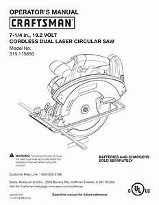 Craftsman 315115850 User Manual Circular Saw Manuals And