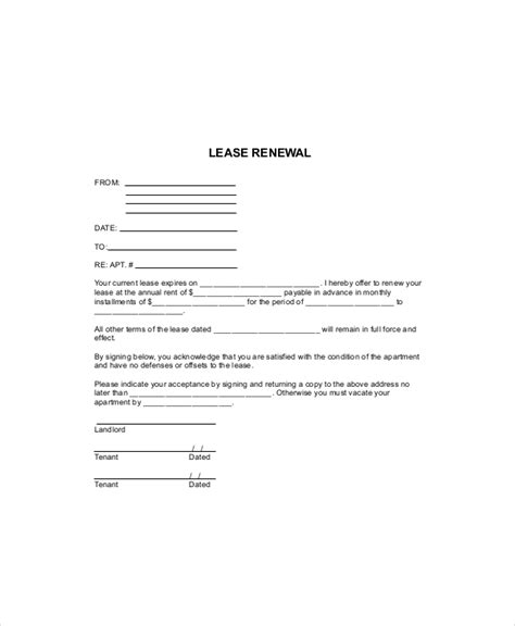 blank lease templates  sample  format