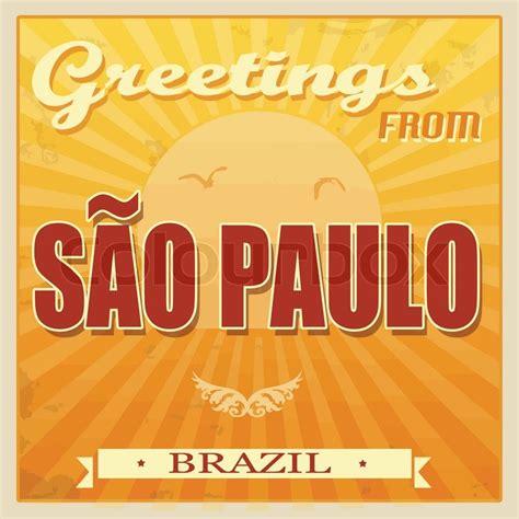 vintage touristic greeting card sao paulo brazil