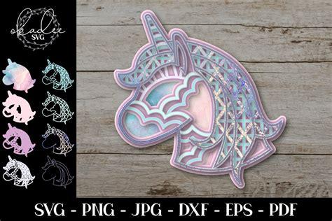 No physical product will be shipped to you. 3D Layered Mandala, Unicorn Mandala, Unicorn SVG, Cut File ...