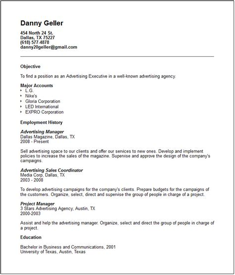 Most Common Resume Templates by Sales Marketing Resume Exles