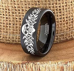 skull wedding band skull ring biker wedding band by With biker wedding ring sets