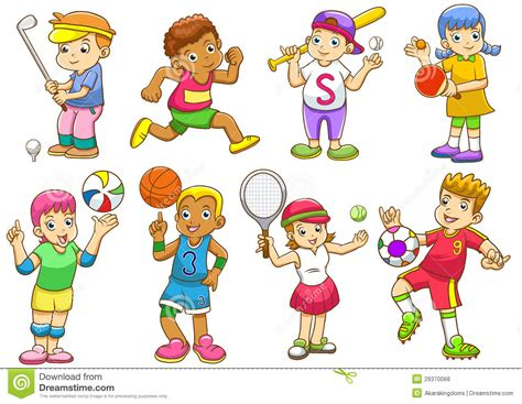Illustration Of Children Playing Different Sports Stock