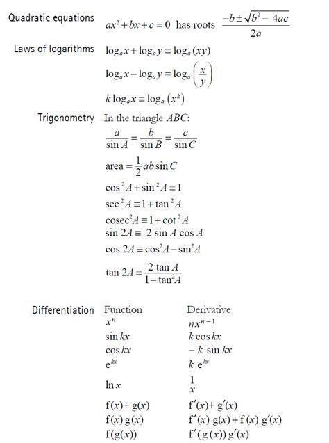 a level formula booklet