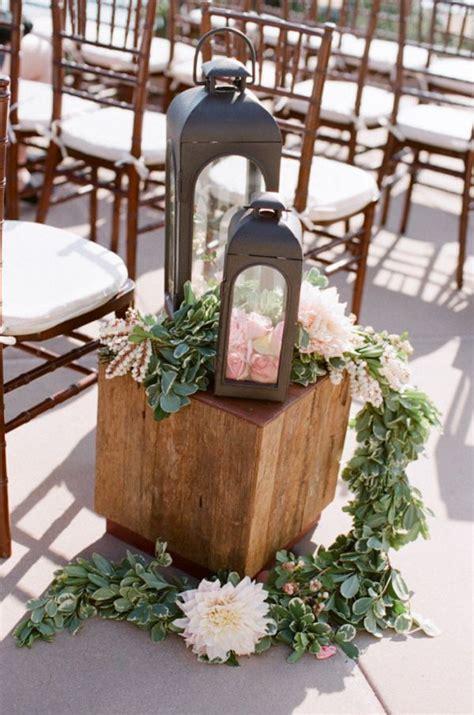 rustic lantern and pink flowers wedding aisle decor Deer