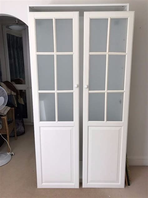 ikea white pax wardrobe   frosted glass doors