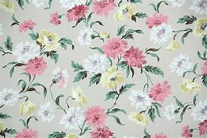 1940's Vintage Wallpaper - Floral Wallpaper with Pink ...