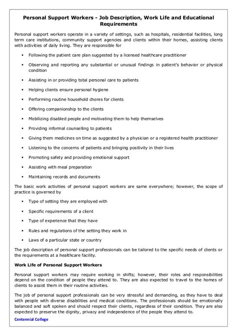 personal support workers description work and