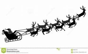 Santa Flying In A Sleigh With Reindeer Vector
