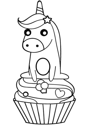 unicorn  cupcake coloring page  printable coloring pages
