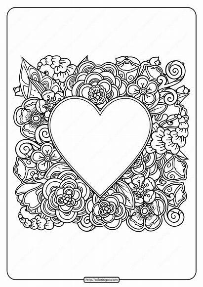 Coloring Heart Printable Flowers Pdf Adult Coloringoo