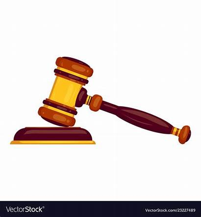 Hammer Judge Cartoon Icon Vector Royalty