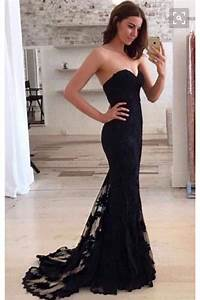 Kalp Yaka Siyah Güpürlü Abiye Elbise 55992 Trendbende