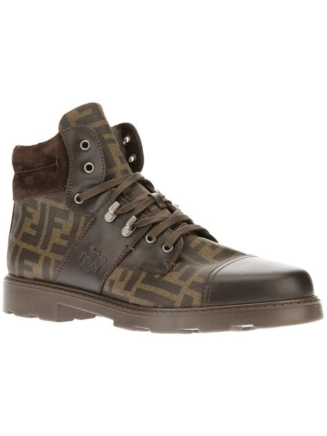 fendi monogram print boot  brown  men lyst