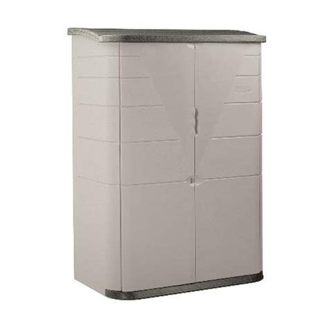 rubbermaid plastic vertical outdoor storage shed 52 cubic foot beige fg374601olvss