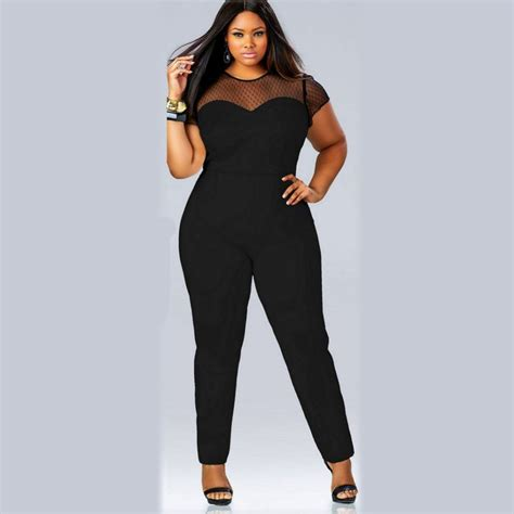 plus size jumpsuits and rompers clubwear o neck playsuit bodycon