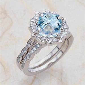 Vintage floral scalloped bridal set aquamarine engagement for Wedding rings aquamarine