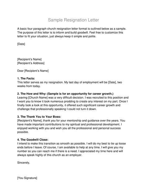 Sample Basic Resignation Letter | Templates at allbusinesstemplates.com