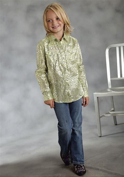 roper girls lime green silver cheetah print cotton ls