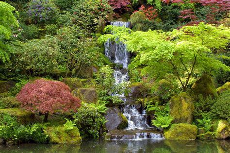 Japanese Gardens Waterfall Landscape Stock Photo