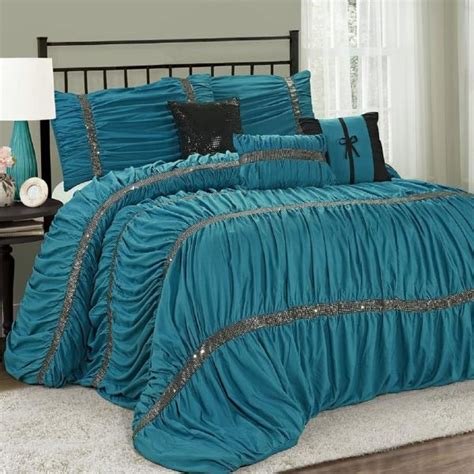 new queen cal king bed solid teal blue black sequin
