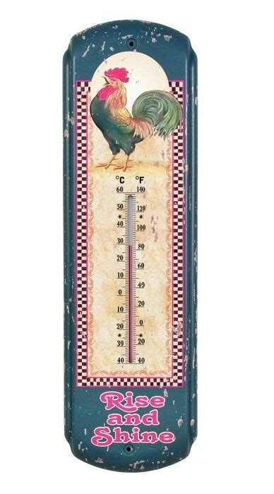 Rooster Metal Thermometer Chicken Vintage Rustic Kitchen