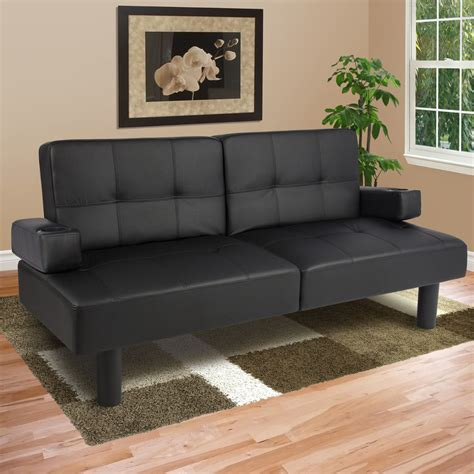 Leather Faux Fold Down Futon Sofa Bed Couch Sleeper