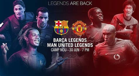 When is Barcelona legends vs Manchester United legends, what TV channel is it on and who is playing?