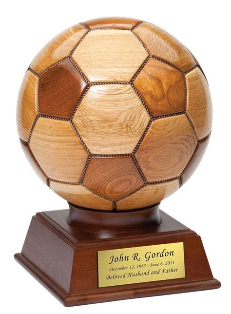 soccer ball wood cremation urn  ashes soccer ball