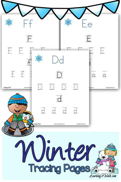 winter tracing pages 152 | These cute winter tracing pages are sure to help your child with their preschool letter writing.