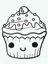 Cupcake Cute Drawing Drawings Food Cupcakes Draw Easy Clipart Doodle Cliparts Birthday Kawaii Face Eating Copy Clip Cut Animals Google sketch template