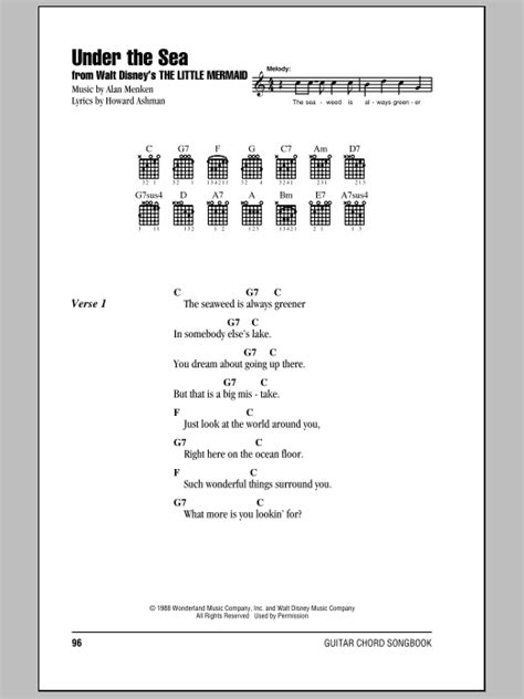under the sea sheet music by alan menken lyrics chords