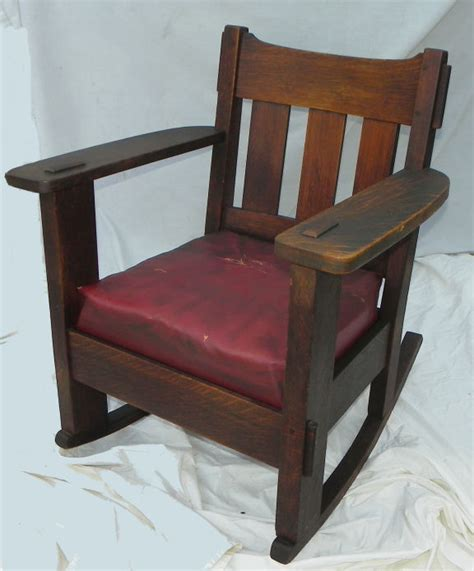 Stickley Upholstered Rocking Chair by Bargain S Antiques 187 Archive Antique Mission Oak