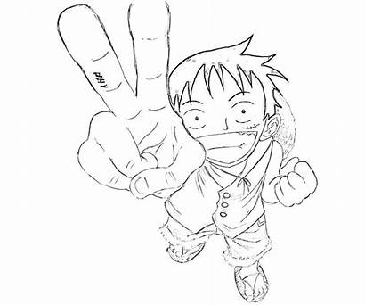 Luffy Coloring Piece Pages Monkey Character Happy