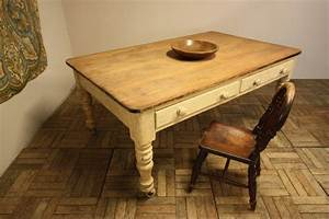 Country Antique Painted Pine Kitchen Dining Table